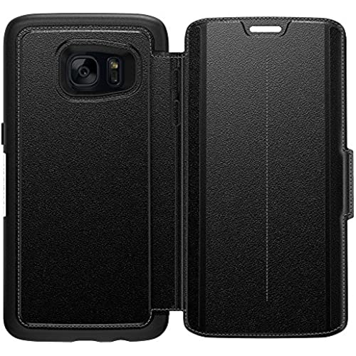 OtterBox Strada Series Leather Wallet Case for Samsung Galaxy S7 Edge, Phantom Black - Retail Packaging Sales