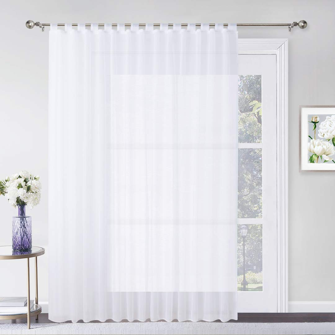 White Wide 54 by Long 84 Inch 1 Panel RYB HOME Outdoor Sheer Curtain for Patio Dry Fast Curtain with 1 Bonus Rope Porch Curtain Outdoor Indoor Privacy White Sheer Volie with Tab Top
