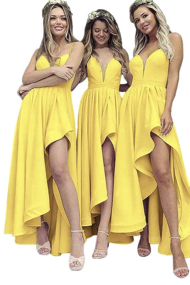 Yellow Dressylady A Line V Neck Spaghetti Straps High Low Satin Bridesmaid Dress Wedding Party Dress