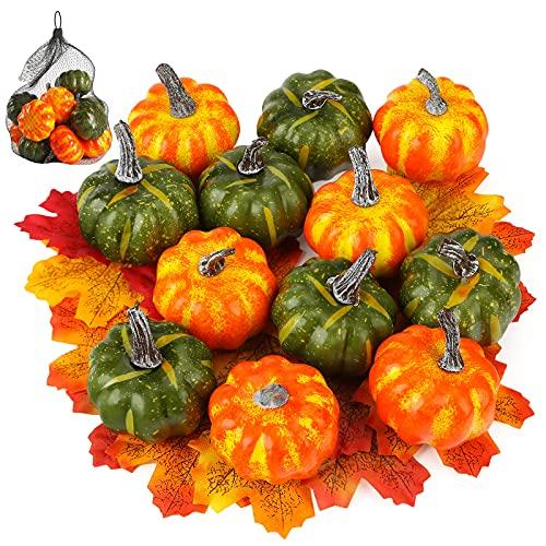 HiPatio Artificial Pumpkins, 12 Pcs Fake Pumpkins with 30PCS Fake Maple Leaves Fall Harvest Mini Pumpkins for Festival Thanksgiving Autumn Home Decoration