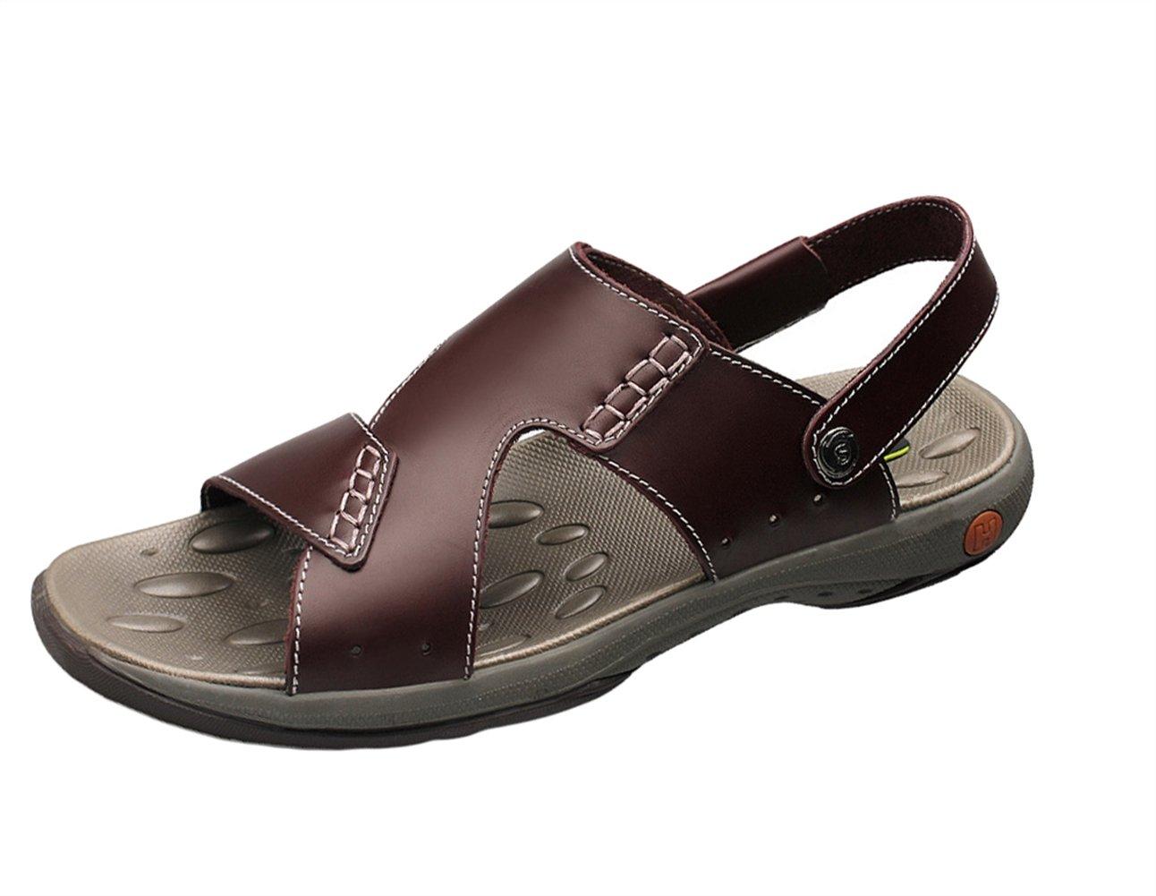 Insun Sandalias Para Hombre Cuero Casuales Sandalias Playa Zapatos 38 EU|Marrón