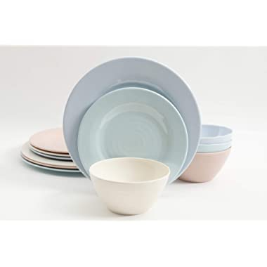 Brist Pastels 12pc Dinnerware Set - 4 Assorted Colors - Melamine