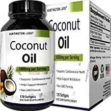 Pure Organic Coconut Oil – Natural Supplement for Heart Health – Supports Normal Blood Sugar & Cholesterol Levels – Cold Pressed & Extra Virgin – 1000mg – 120 Softgels – By Huntington Labs