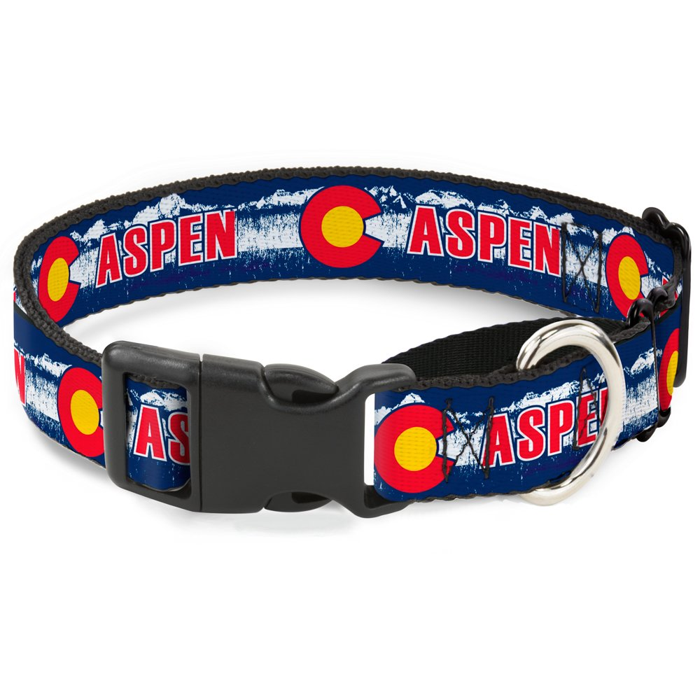 Buckle-Down MGC-W35584-WM colorado Aspen Flag Snowy Mountains bluee White Red Yellow Dog Collar, Medium