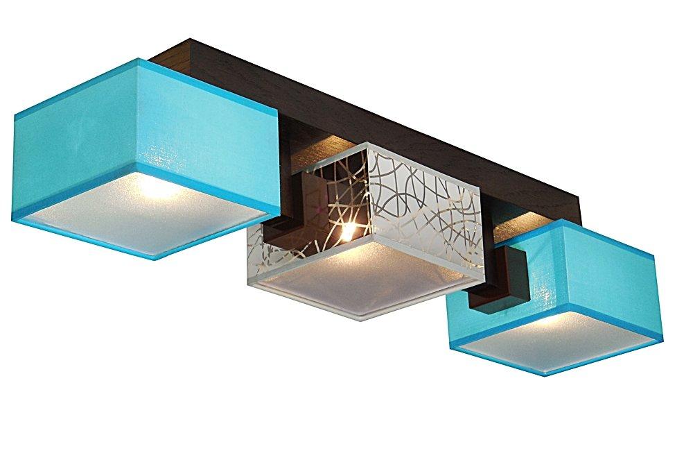 Deckenlampe - Wero Design Barsa-014D - Deckenleuchte, Leuchte, Holz, LAMPENSCHIRME MIT BLENDEN, 4-flammig (TÜRKIS SILBER)