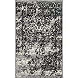 Black Area Rugs Safavieh Adirondack Collection ADR101A Silver and Black Oriental Vintage Distressed Area Rug (2'6