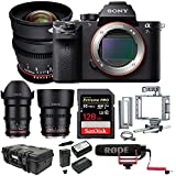 Sony Alpha a7S II Mirrorless Camera w/Rokinon 3-Lens Kit & 128GB SD Card Bundle