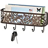 mDesign Wall Mount Metal Entryway Storage Organizer Mail Sorter Basket with 5 Hooks - Letter, Magazine, Coat, Leash and Key H