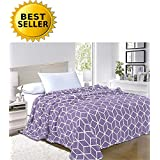 Elegant Comfort Micro-Fleece Ultra Plush Cube Pattern, All Season Blanket, Full/Queen, Lilac/Lavender