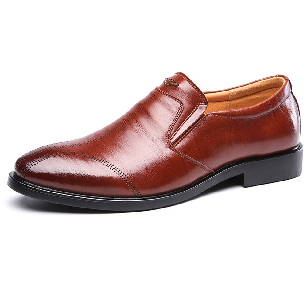 Brown XIANGBAO-Personality Formal Men's Business Oxfords Genuine Leather Breathable Slip-on Soft Sole Flats