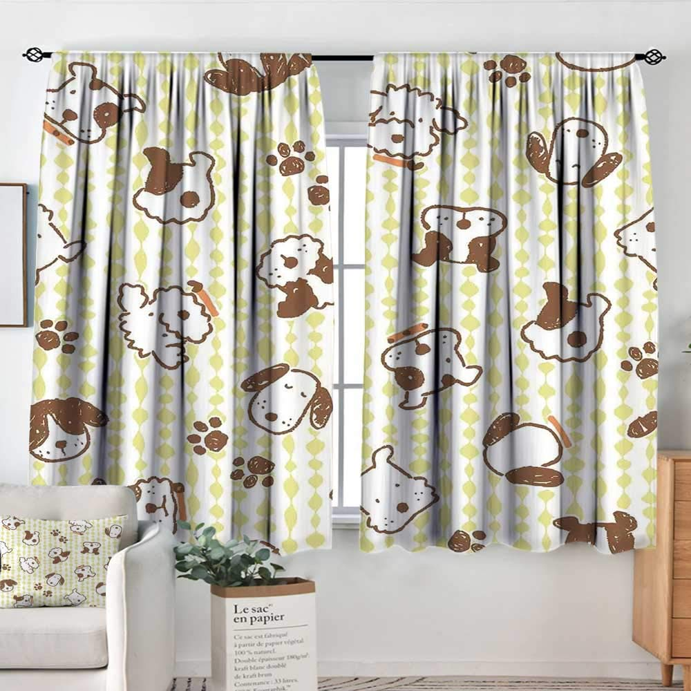color03 55 W x 45 L Decor Waterproof Window Curtain Kids,Set of Drawings Different Cartoon Style Characters Cute Monsters Funny Animals Mutants,Multicolor,Darkening and Thermal Insulating Draperies 42 x54