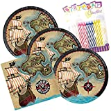 Pirate's Map Happy Birthday Theme Plates and Napkins Serves 16 With Birthday Candles