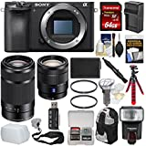 Sony Alpha A6500 4K Wi-Fi Digital Camera Body with 16-70mm f/4 & 55-210mm Lenses + 64GB Card + Backpack + Flash + Battery & Charger + Kit