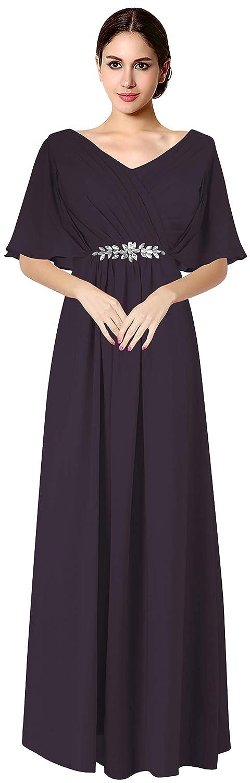 Dark Purple VaniaDress Women V Neck Half Sleeveles Long Evening Dress Formal Gowns V265LF
