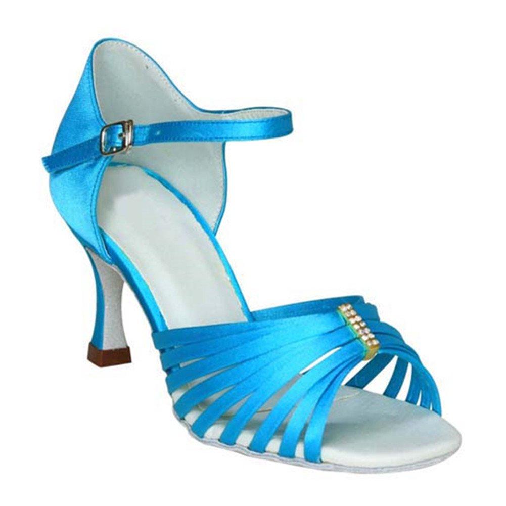 GUOSHIJITUAN Frauen Latein Satin Latein Frauen Tanzschuhe Leise Unten High Heel Salsa Tango Soziale Tanzschuhe Indoor Sandale d20f4f