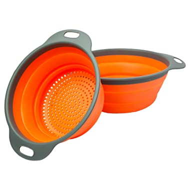 Colander Set - 2 Collapsible Colanders (Strainers) Set By Comfify - Includes 2 Folding Strainers. Sizes 8  - 2 Quart, and 9.5  - 3 quart. (Orange and Grey)
