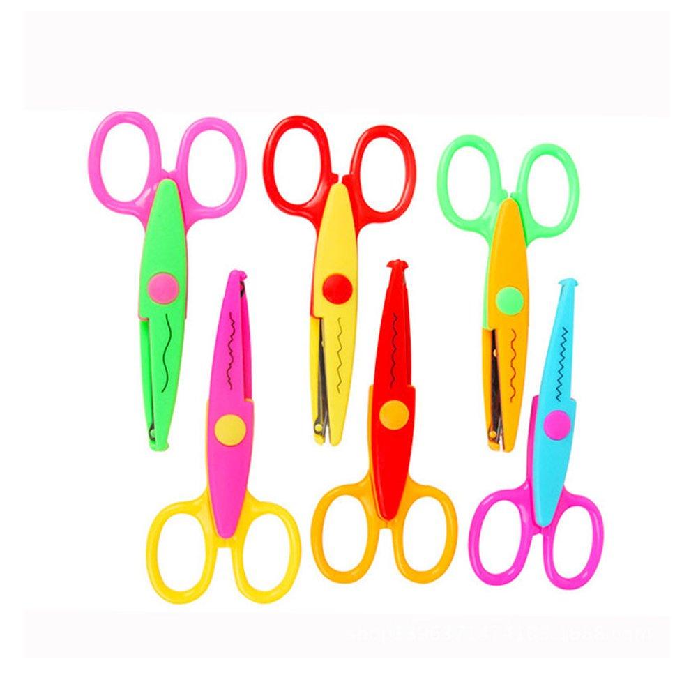 Jialeey - Tijeras de plástico con diseño de niños para manualidades creativas (6 piezas)