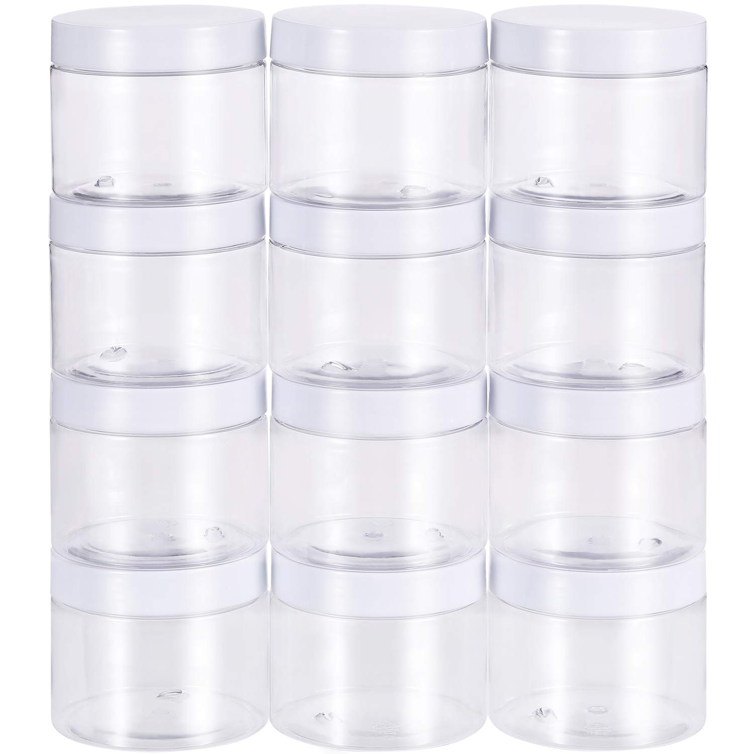 e229b8ac588b Empty 12 Pack Clear Plastic Slime Storage Favor Jars Wide-mouth ...