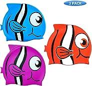 Kit 3 Toucas Silicone Touquinha Infantil Peixinho Vermelho Esporte Natação Piscina Nadar Menino Menina Promoção Liquidação Of