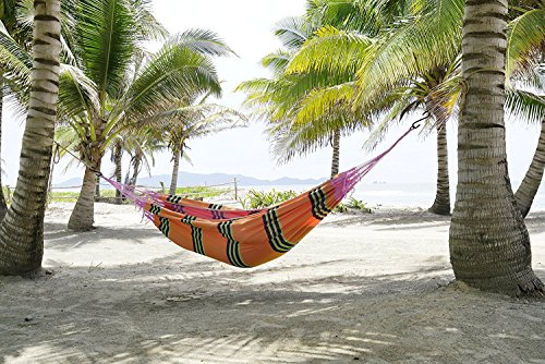 FMS Brazilian Mayan Tropical Hammock – Deluxe Indoor / Outdoor Extra Large Multicolor Handmade Hammock for 1 or 2 Person – 100% Cotton – Portable, Sof…