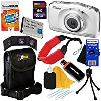 Nikon COOLPIX S33 Waterproof & Shockproof 13.2 MP Digital Camera with 3x Zoom NIKKOR Lens and Full HD 1080p Video, White - International Version (No Warranty) + EN-EL19 Battery + 9pc Bundle 16GB Accessory Kit w/ HeroFiber Ultra Gentle Cleaning Cloth Key Pieces Review Image