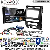 Volunteer Audio Kenwood DMX7704S Double Din Radio Install Kit with Apple CarPlay Android Auto Bluetooth Fits 2009-2010 Ford F-150 (Black)