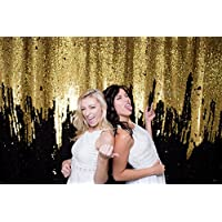 QueenDream background backdrop 4ftx6.5ft Black and Gold Double Colored Reversible Sequin Fabric sheer curtain backdrop