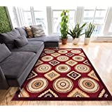 Mezzo Tiles Red Traditional Mediterranean Mosaic 8x10 (7 10  x 9 10 ) Mansion Room Area Rug Modern Easy Care &...