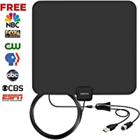 VIEWTEK Amplified Digital Indoor HDTV Antennas with 50 Mile Range,13.2 FT Copper Coaxial Cable,USB Power Supply,detachable amplifier booster,4K ready