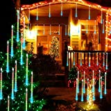 LED Meteor Shower Rain Lights - Terresa 30-cm 8 Tube Waterproof Icicle Tree Lights for Xmas Christmas Outdoor Decorations, Snowfall Lights for Wedding Year Party Decorations(Multicolor)