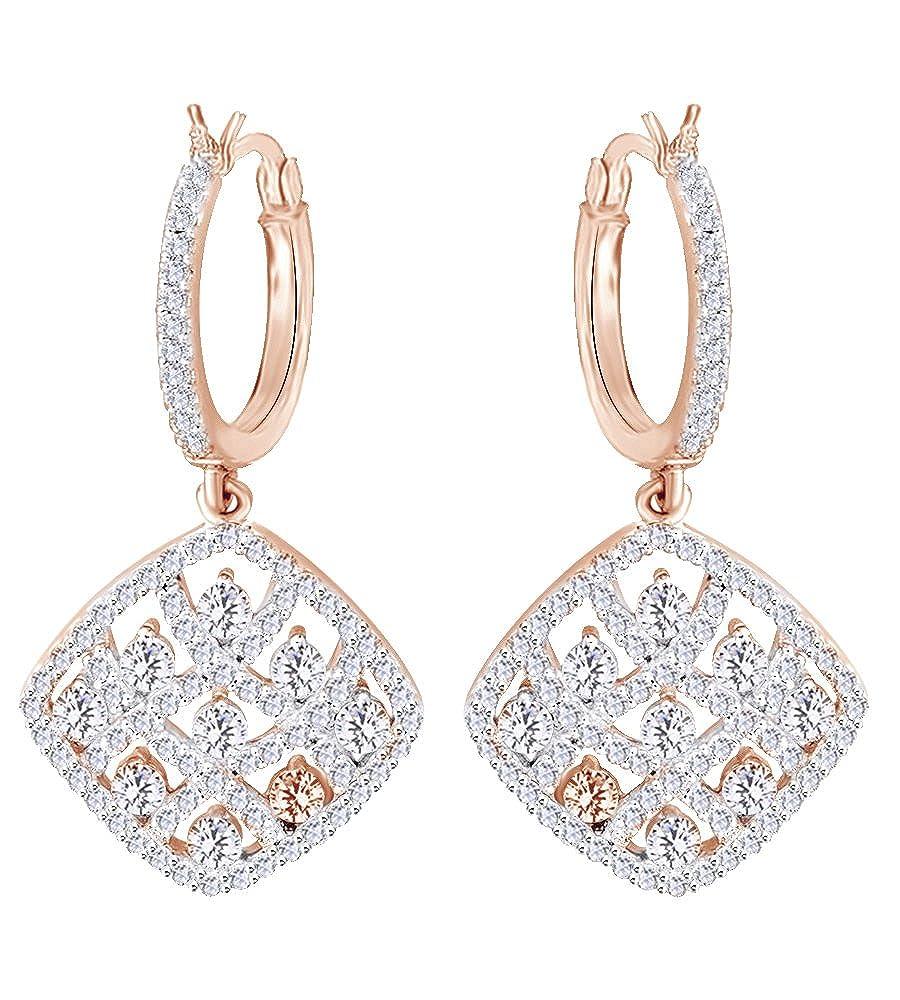 1,5 Karat Rundschliff natur Creolen Diamant Weißszlig; in 14 ct 585 Massiv Weißszlig; Gold 14 Karat RotGold