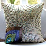 """Ivory Accent Pillows 14 x 14, Peacock Feather Sequins and Beaded Pillows Cover, 14""""x14"""" Decorative Pillow Covers, Square Silk Pillows Covers for Couch, Floral Art Deco Decorative Pillows Cover -Peacock Beauty"""