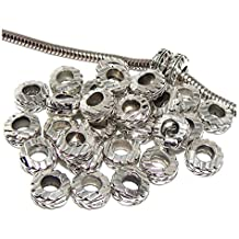 Pro Jewelry (Pack of 30) Silver Plated Leaf Spacer Beads 04509