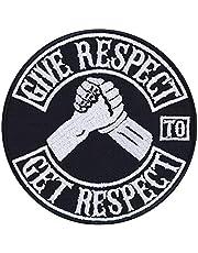 Give Respect-Get Respect patch opstrijkbaar biker patch rocker strijkplaatjes zware metalen sticker patches cadeau motorfiets bestuurder DIY applicatie voor jas / vest / jeans / boot / motorkoffer 90 x 90 mm