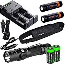 Fenix PD35 TAC 1000 Lumen CREE LED Tactical Flashlight, advanced smart battery charger, Two Fenix 18650 ARB-L2S 3400mAh rechargeable batteries with 2X EdisonBright CR123A Batteries bundle by EdisonBright