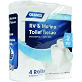 Camco RV Bathroom Toilet Tissue - 4 Rolls Sewer-Safe, Septic-Safe, Biodegradable 2-Ply Bath Tissue Designed for Trailer, Moto