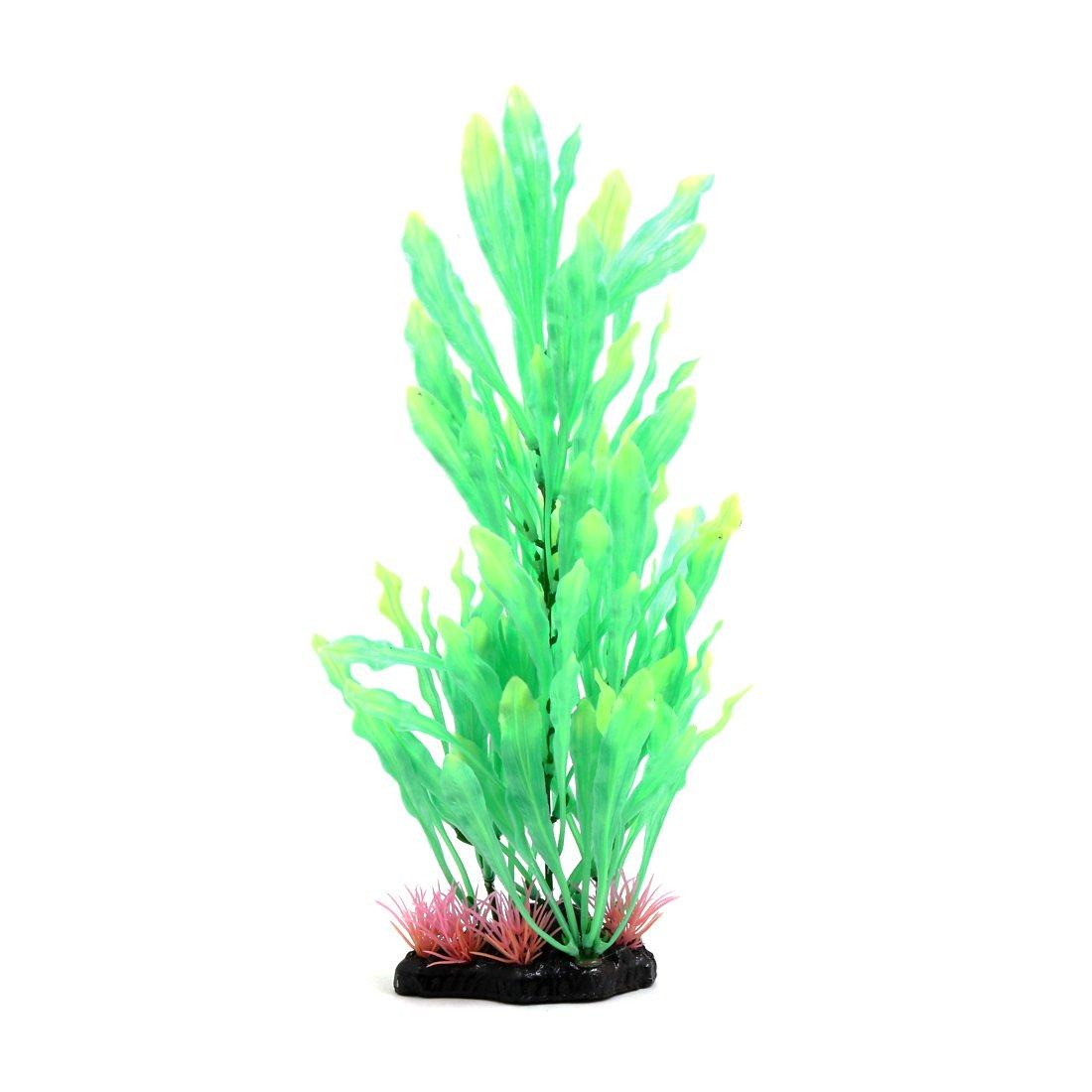 Uxcell® Green Plastic Seaweed Aquarium Fish Tank Terrarium Plant Ornament Reptiles Habitat Decor w Ceramic Base
