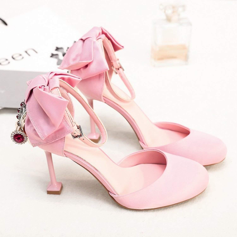 Fuxitoggo Fuxitoggo Fuxitoggo Damen Schuhe Fisch Mund rund Kombination mit dünnem Bügel Diamant mit Hoher Ferse (Farbe   Rosa Größe   39) 6786e5