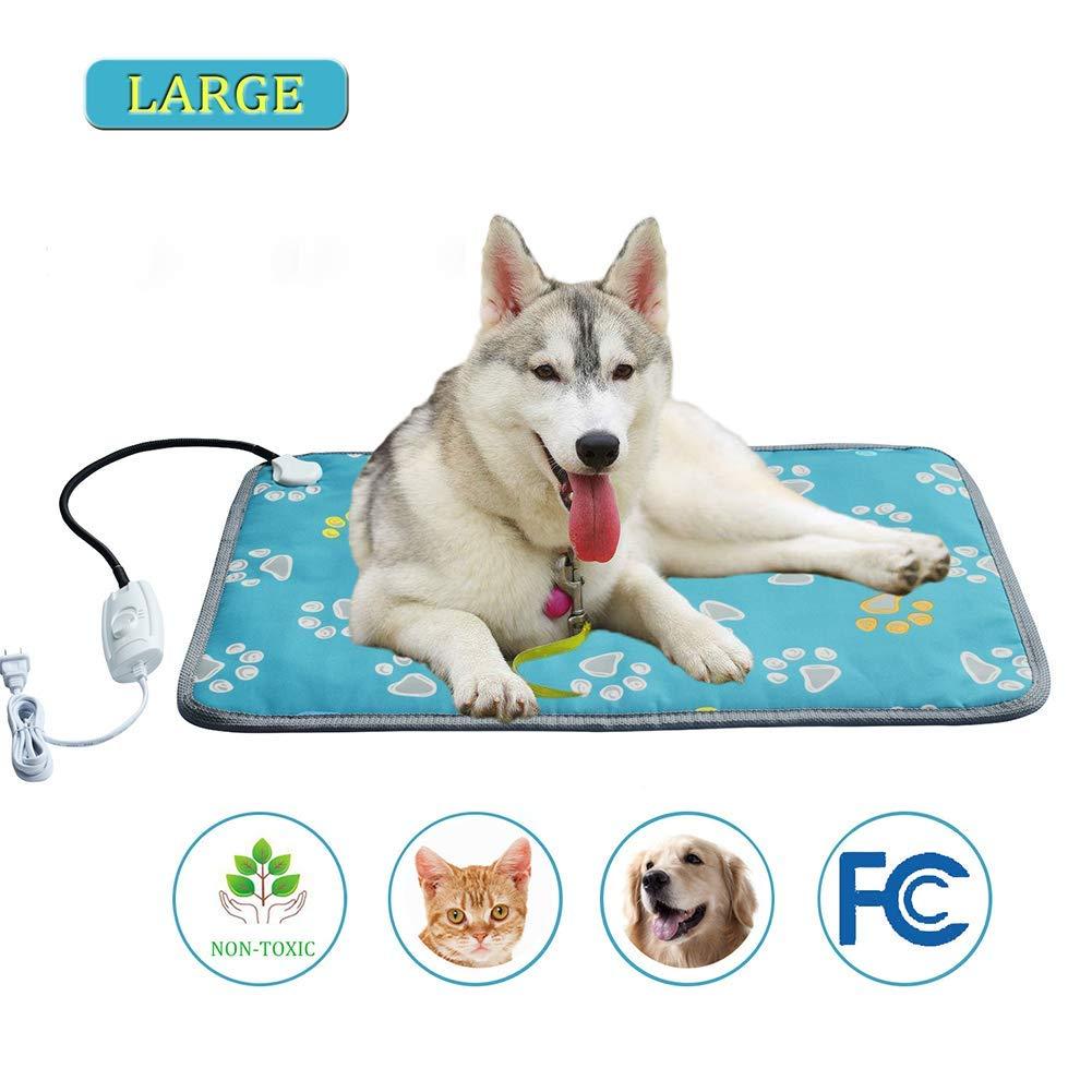 Pet Heating Pad, Dog Cat Electric Blanket Heating Pad Warming Mat Indoor Waterproof Chew Resistant Steel Cord