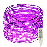 USB Led String Lights,ER CHEN(TM) 100 Leds 33Ft Waterproof Silver Wire String lights for Bedroom, Patio, Party, Wedding, Christmas Decorative Lights(Purple)