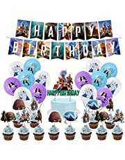 Raya and The Last Dragon Birthday Party Supplies,Set Includes Happy Birthday Banner - Cake&Cupcake Toppers,18 Latex balloons for Kids Raya and The Last Dragon Theme Birthday Party Decoration