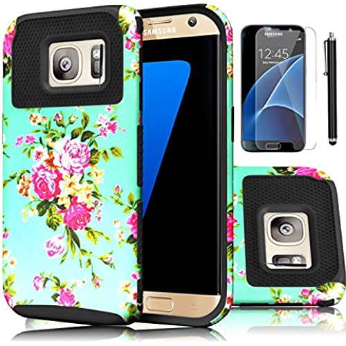Galaxy S7 Case,EC 2-Piece Extra Slim Hybrid Dual Layer Hard Cover Case for Samsung Galaxy S7 2016 Release (Flower-Black) Sales