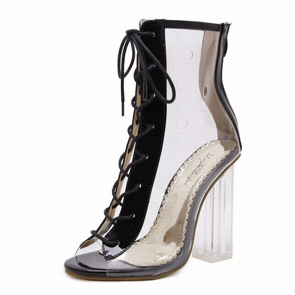 Yajiemei Dicker Absatz High Heels Kreuzgurte Kristall Schuhe Frauensandalen (Farbe   schwarz Größe   34)