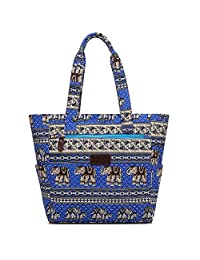 Boence Women's Canvas Zippered Tote Beach Bag Shoulder Hand Bag Large Capacity Shopper Weekender School Gym Travel Bag (Blue Elephant)