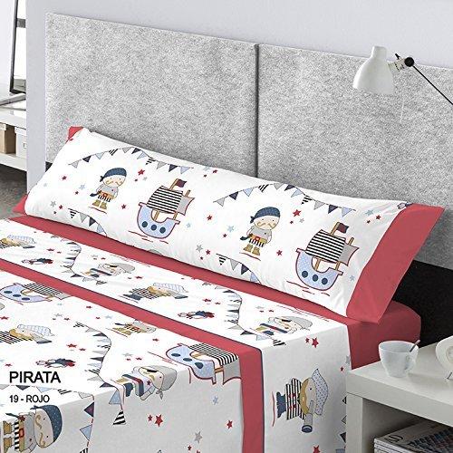 CATOTEX - Juego sábanas infantil PIRATA Catotex. Cama de 105 cm. Color Rojo -