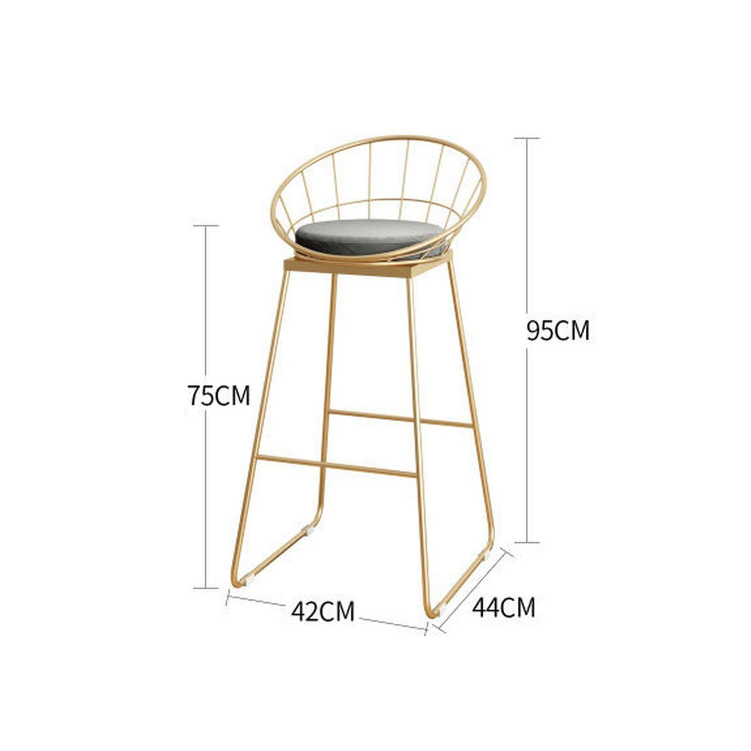 A-gold-75cm tthappy76 Simple Bar Stool Wrought Iron Bar Chair gold High Stool Modern Dining Chair Iron Leisure Chair Nordic,C-gold-75Cm
