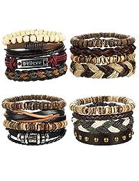 LOYALLOOK 8-16pcs Mens Leather Bracelet Wrap Cuff Bracelets with Hemp Cords Wood Beads Ethnic Tribal Believe Charm