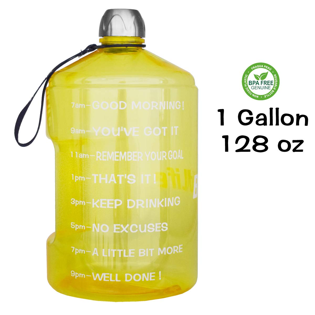c8c4bd051c0 QuiFit 1 Gallon Water Bottle Reusable Leak-Proof Drinking Water Jug for  Outdoor Camping BPA Free Plastic Sports Water Bottle with Daily Time Marked  ...