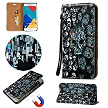 for Samsung Galaxy Grand Prime G530 Case Waterproof,KMETY Luxury PU Leather Flip Stand Cover Colorful Printing 3D Relief Magnetic Shockproof Protective Case-Skull head