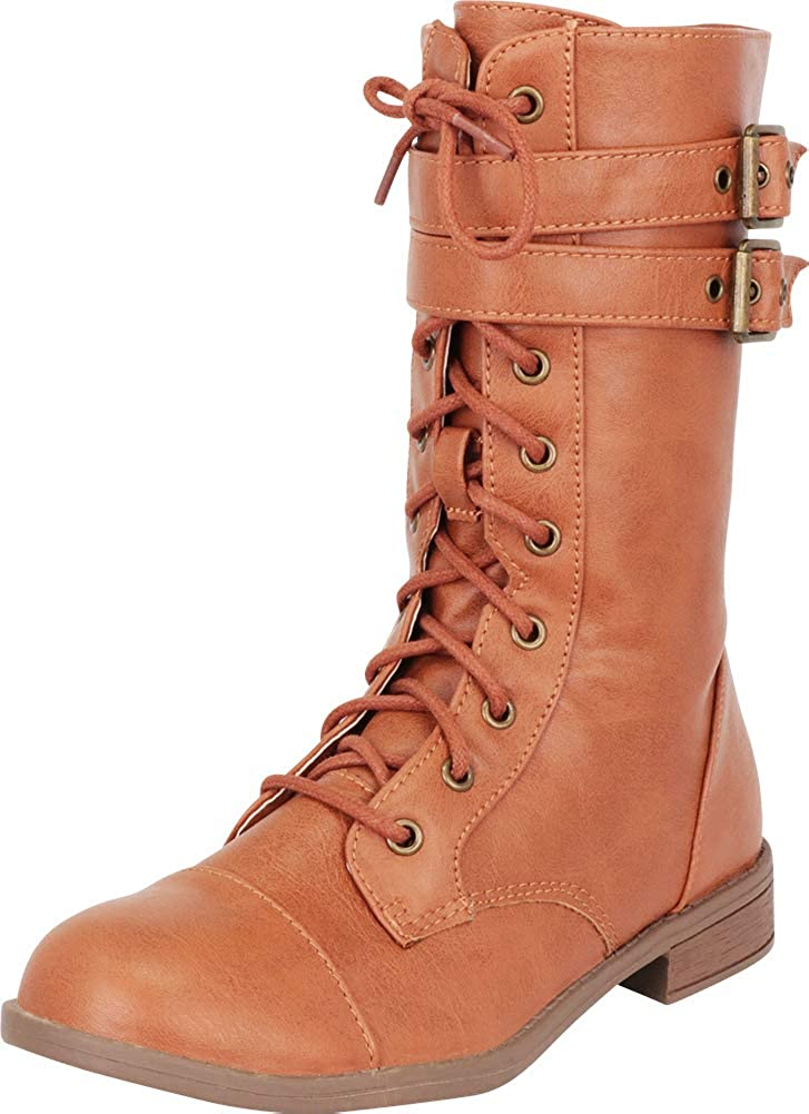 Tan Pu Cambridge Select Women's Strappy Double Buckle Lace-Up Low Heel Combat Boot
